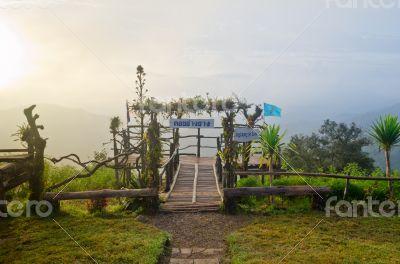 Podium for natural view on viewpoint Doi Ang Khang mountai