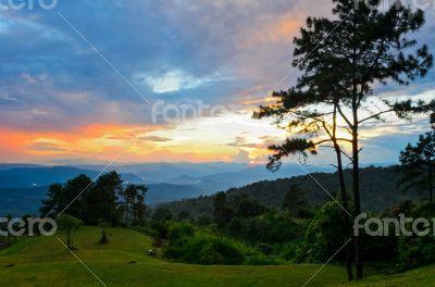 Sunset over high mountain range