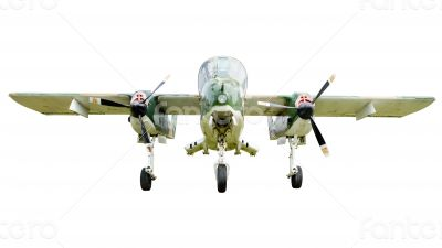 Old combat aircraft on white background