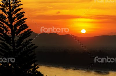 Sunset over mountain range