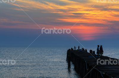 Fishing pier at sunrise