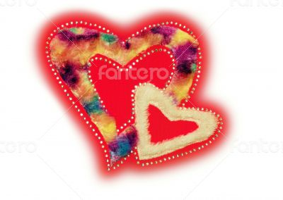 Red heart fluff and sequin