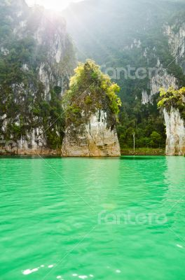 Beautiful island and green lake ( Guilin of Thailand )