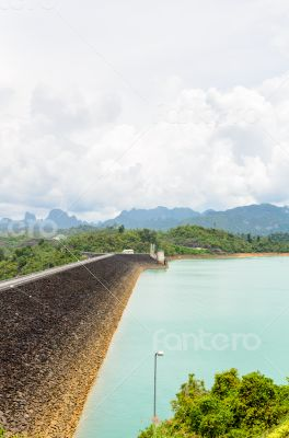 Scenic point of green lake at Ratchaprapha Dam