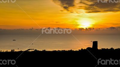 Silhouette view Hua Hin city at sunrise