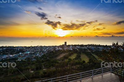 View point Hua Hin city at sunrise