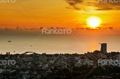 View Hua Hin city at sunrise