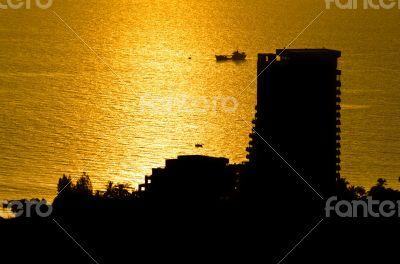 Silhouette view Hua Hin city at sunrise