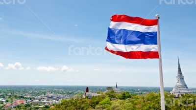 Thai flag waving in the wind