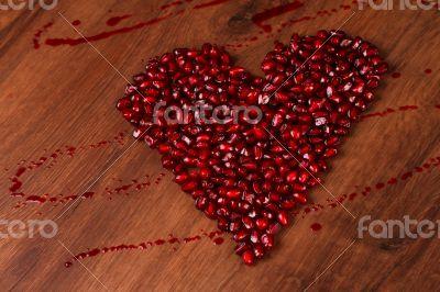 Copmposition Heart Pomegranate