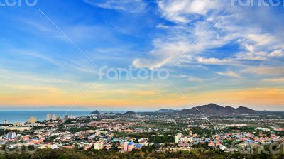 Colorful sky over the Hua Hin city