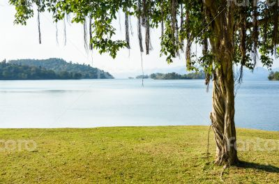 Landscaped lawns for leisure on a Kaeng Kra Chan lake
