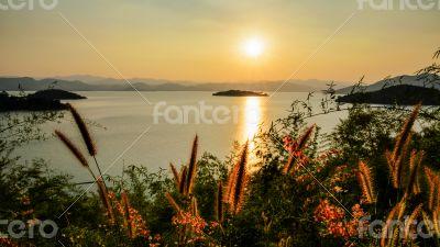 High angle view beautiful lake at sunset