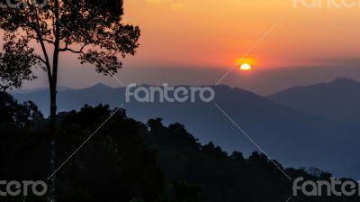 High angle view beautiful sunset
