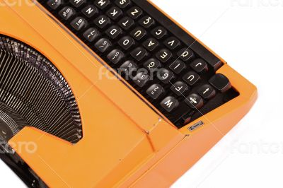 The Orange Vintage Typewriter the White Background