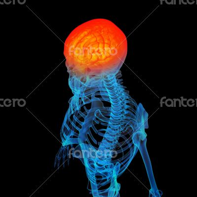 3d rendered human of head pain