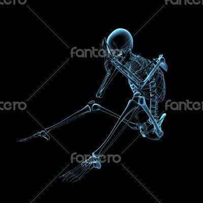 3d rendered blue skeleton of a sitting
