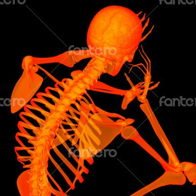 3d rende red skeleton of a sitting