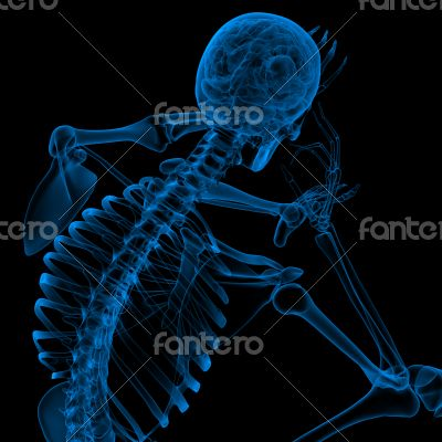 3d render blue skeleton of a sitting