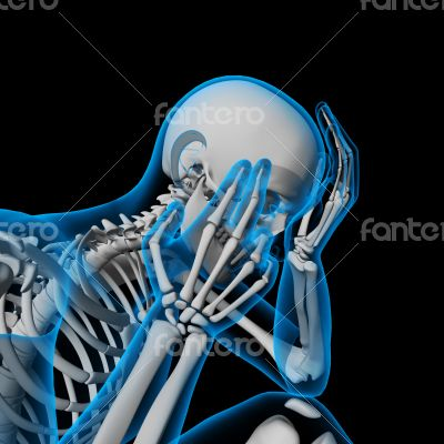 3d render white skeleton of a sitting