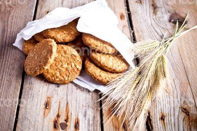fresh crispy oat cookies and ears