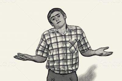 Sketch Teen boy body language - Shoulder Shrugging