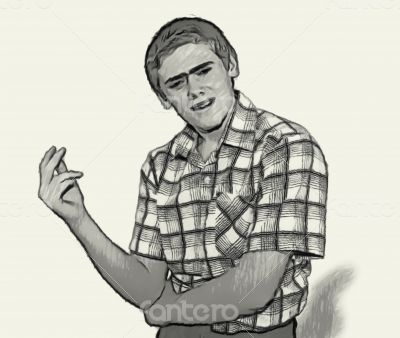 Sketch Teen boy body language - Questioning