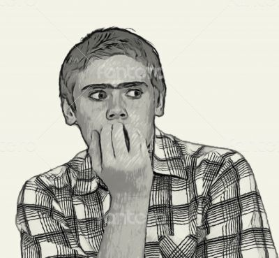 Sketch Teen boy body language - biting nails