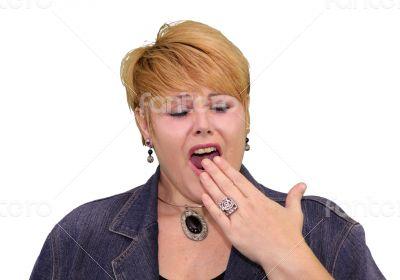 Mature Woman Body Language - Bored Yawning