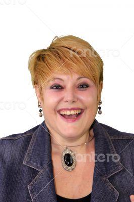 Mature Woman Body Language - Laughing
