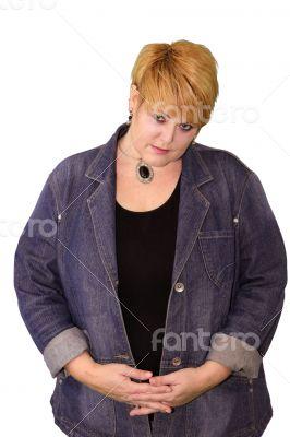 Mature Woman Body Language - Shy Uncertain