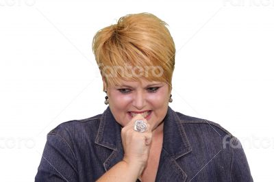 Mature Woman Body Language - Anxious Nail Biting