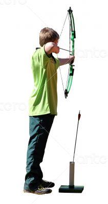 Isolated Boy Archer with Bow and Arrow