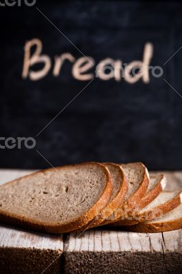 slices of rye bread and blackboard