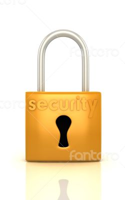 3d lock with word security render on white