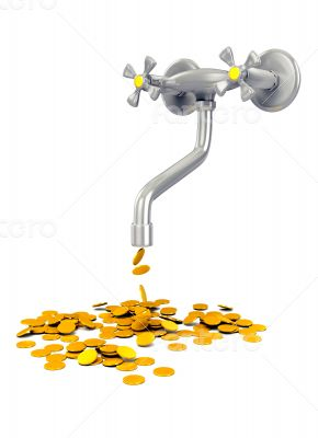 3d concept - tap with gold coins