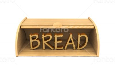 3d bread box and word bread made of bread pieces