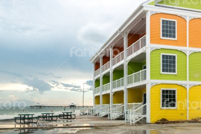 Colorful homes by the beach