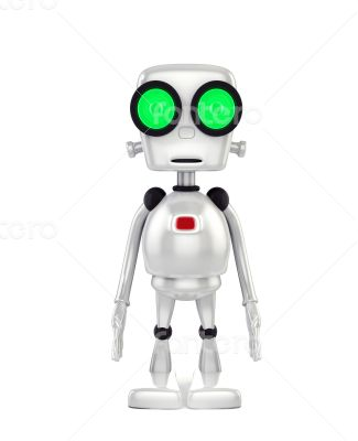 3d shinny and glossy robot on white background
