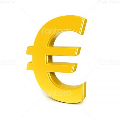 golden shinny euro symbol isolated on white