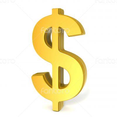 golden shiny dollar symbol isolated on white