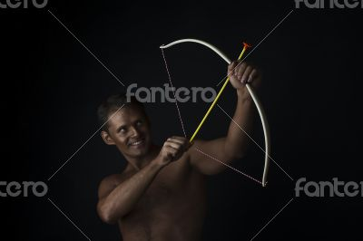 Aiming Archer with a bow and arrow