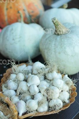 Garlic in a heart-shaped basket