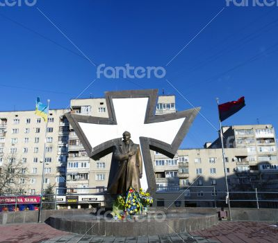 Leader of Ukrainian national movement Stepan Bandera monument