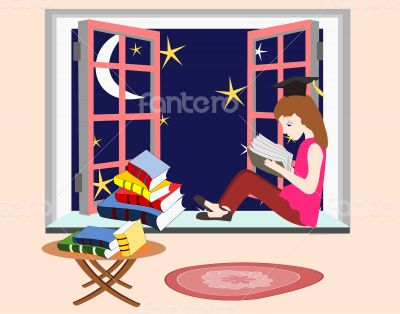 Girl student studying at night sitting