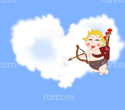 Playful funny cupid with arrows in the sky