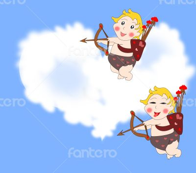 Naughty funny cupids arrows in the sky
