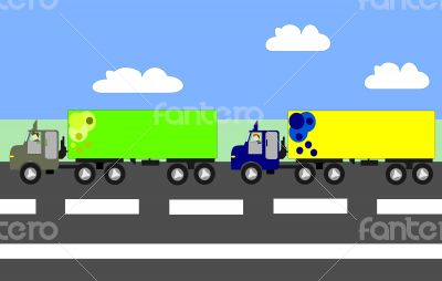 Big trucks moving on the highway