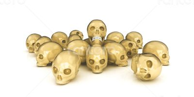 3d glossy and shiny isolated on white skulls