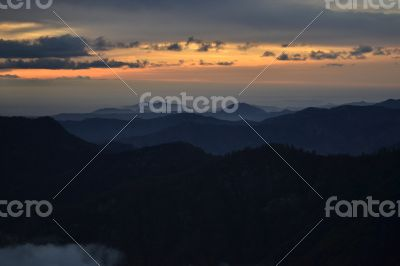 Darkness falling on the Sequoia National Park